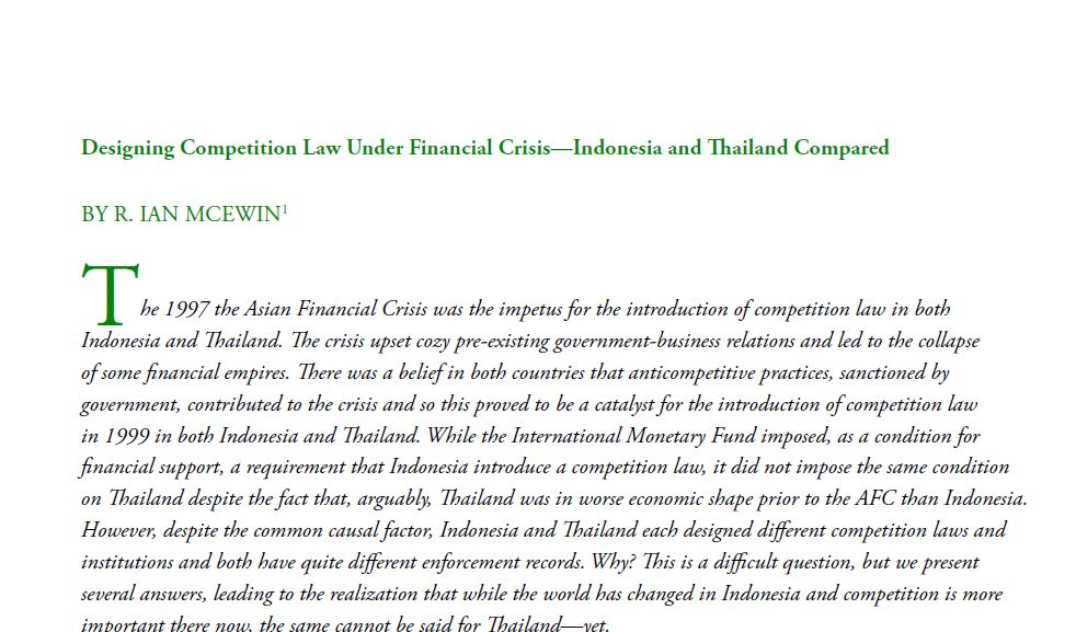 Designing Competition Law Under Financial Crisis—Indonesia and Thailand Compared