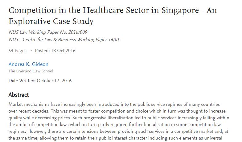 Competition in the Healthcare Sector in Singapore - An Explorative Case Study