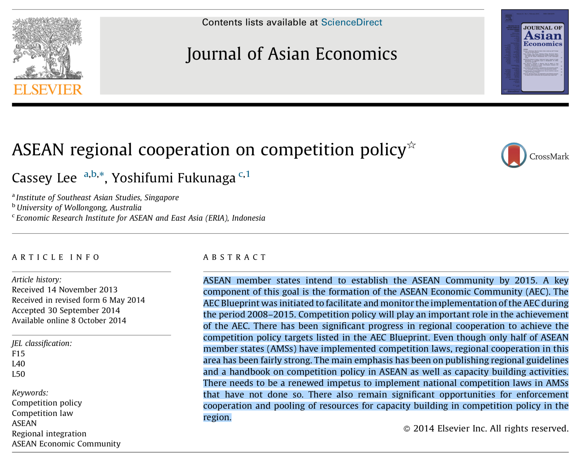 ASEAN Regional Cooperation on Competition Policy