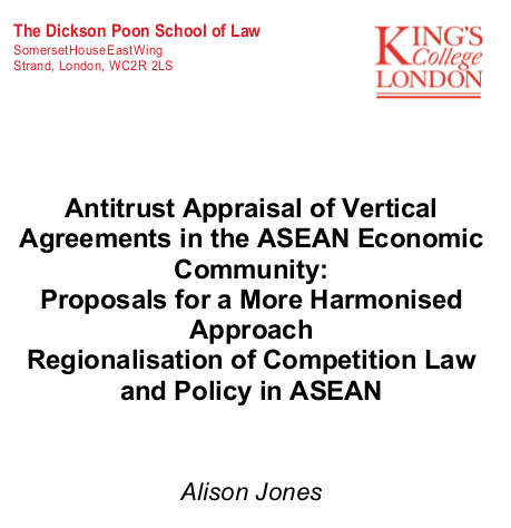 Antitrust Appraisal of Vertical Agreements in the ASEAN Economic Community
