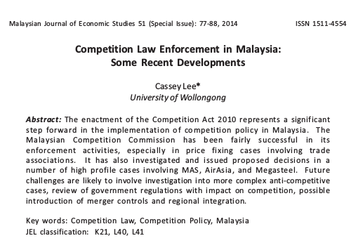 Competition Law Enforcement in Malaysia: Some Recent Developments