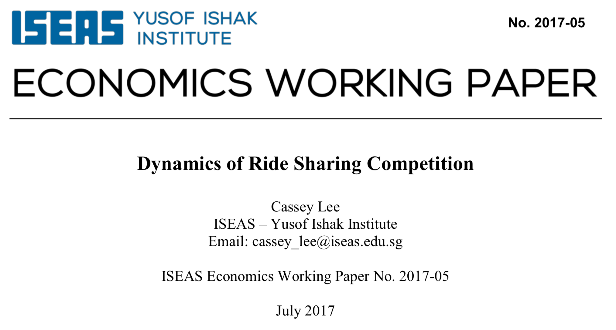 Dynamics of Ride Sharing Competition