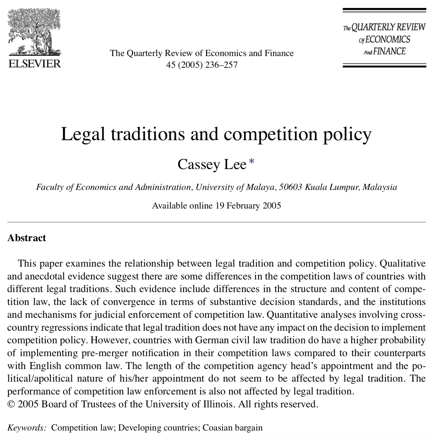 Legal Traditions and Competition Policy