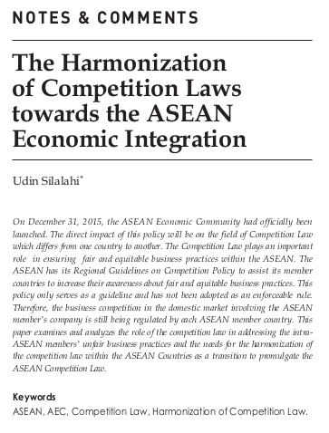 The Harmonization of Competition Laws towards ASEAN Economic Integration
