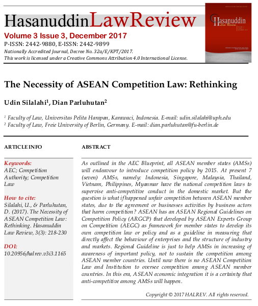 The Necessity of ASEAN Competition Law: Rethinking