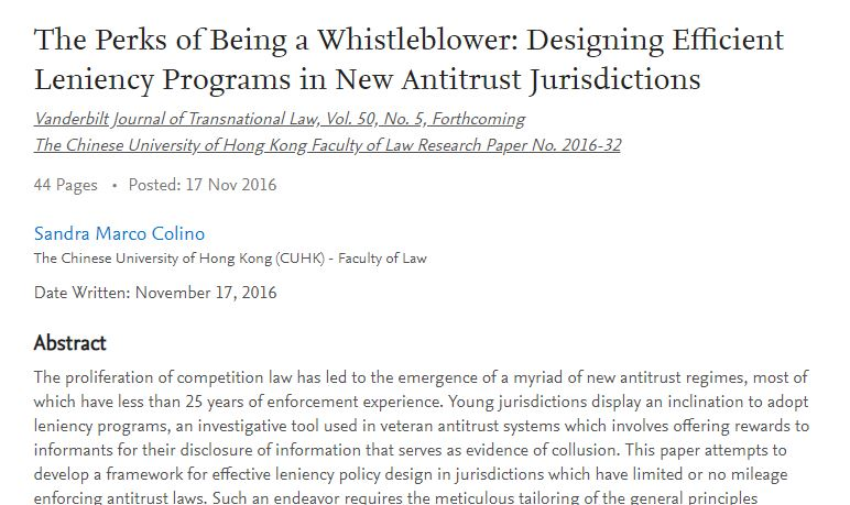The Perks of Being a Whistleblower: Designing Efficient Leniency Programs in New Antitrust Jurisdictions