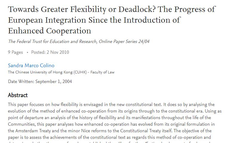Towards Greater Flexibility or Deadlock? The Progress of European Integration Since the Introduction of Enhanced Cooperation