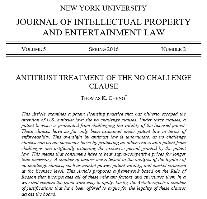 Antitrust Treatment Of The No Challenge Clause