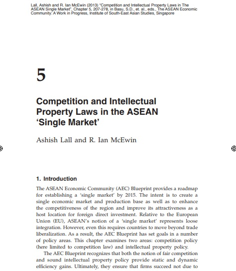 Competition and Intellectual Property Laws in The ASEAN Single Market