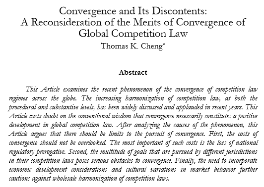 Convergence and Its Discontents: A Reconsideration of the Merits of Convergence of Global Competition Law