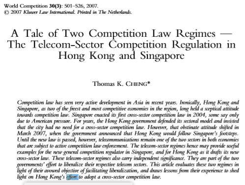 A Tale of Two Competition Law Regimes The Telecom - Sector Competition Regulation in Hong Kong and Singapore