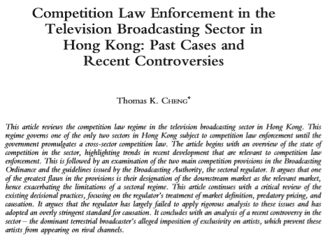 Competition Law Enforcement in the Television Broadcasting Sector in Hong Kong: Past Cases and Recent Controversies