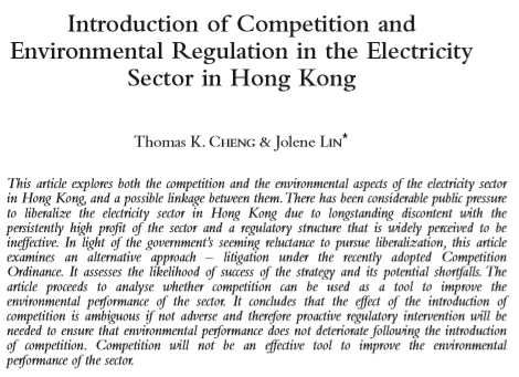 Introduction of Competition and Environmental Regulation in the Electricity Sector in Hong Kong