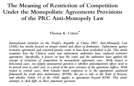 The Meaning of Restriction of Competition Under the Monopolistic Agreements Provisions of the PRC Anti-Monopoly Law