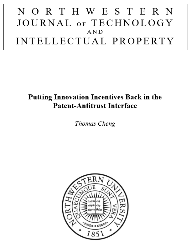Putting Innovation Incentives Back in the Patent-Antitrust Interface