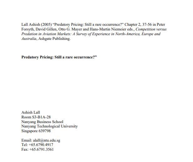 Predatory Pricing: Still a rare occurrence?